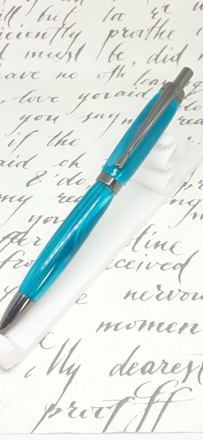 Marine blue acrylic and gun-metal plate click pen