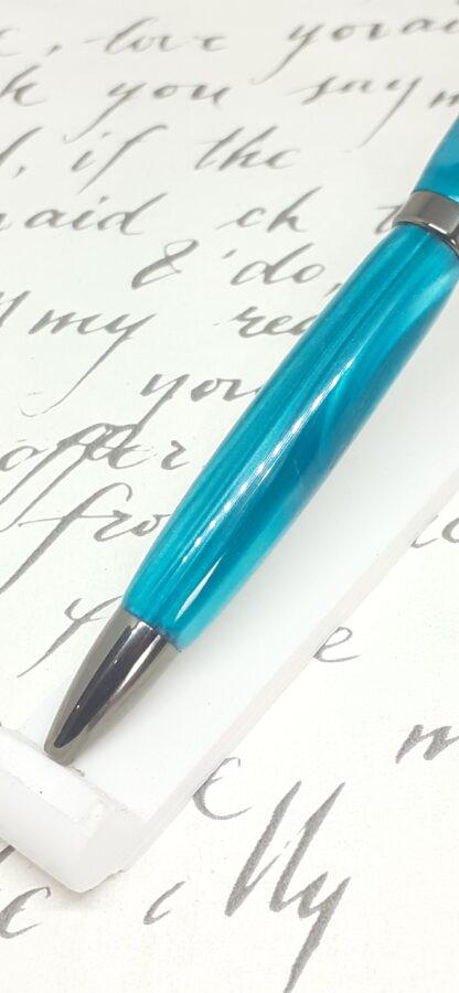 marine blue chrome plated click pen
