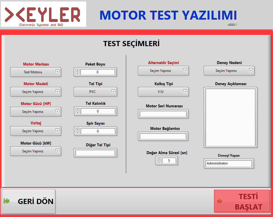 Motor Test Model Seçimi