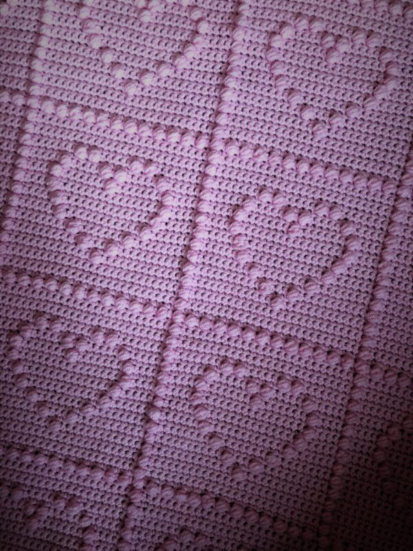 Iced pink heart cot blanket