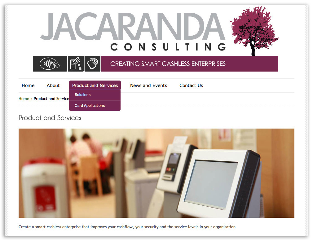 Web designers Belfast Northern Ireland portfolio - Jacaranda web site screenshot 3.