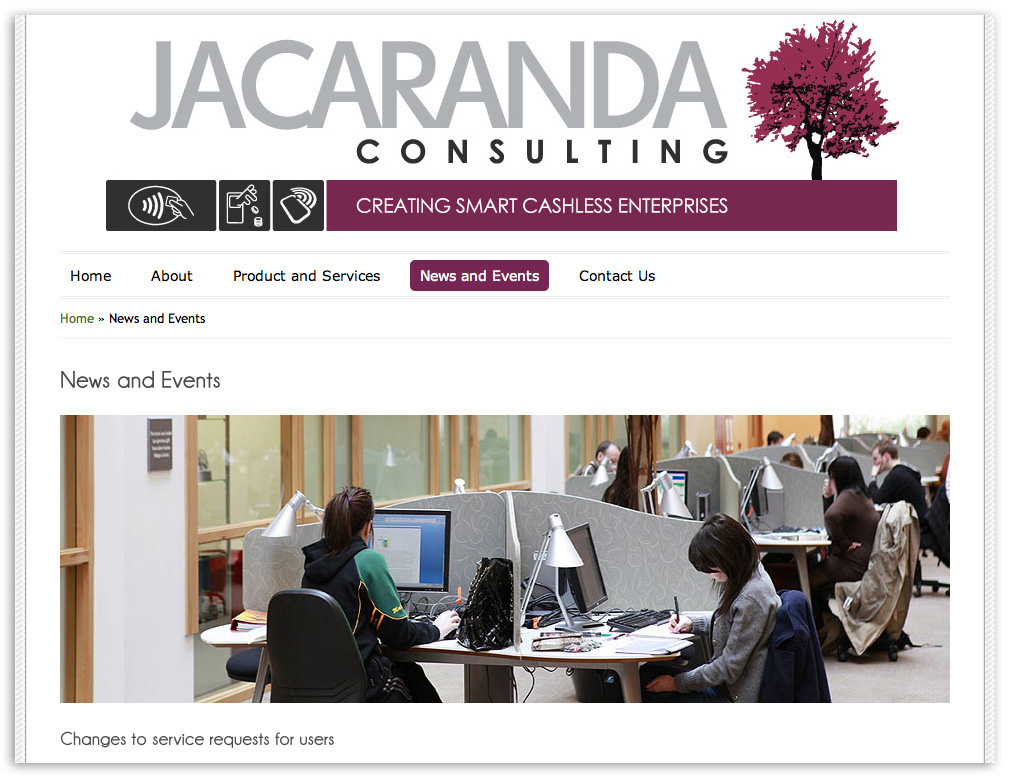 Web designers Belfast Northern Ireland portfolio - Jacaranda web site screenshot 4.