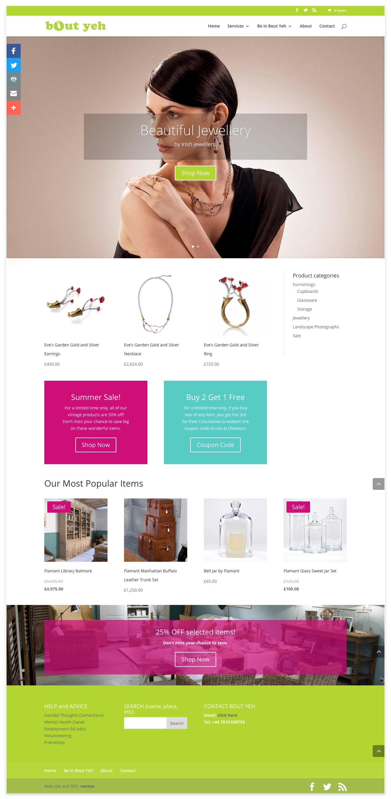 Web designers Belfast portfolio web site 14 ecommerce home page.