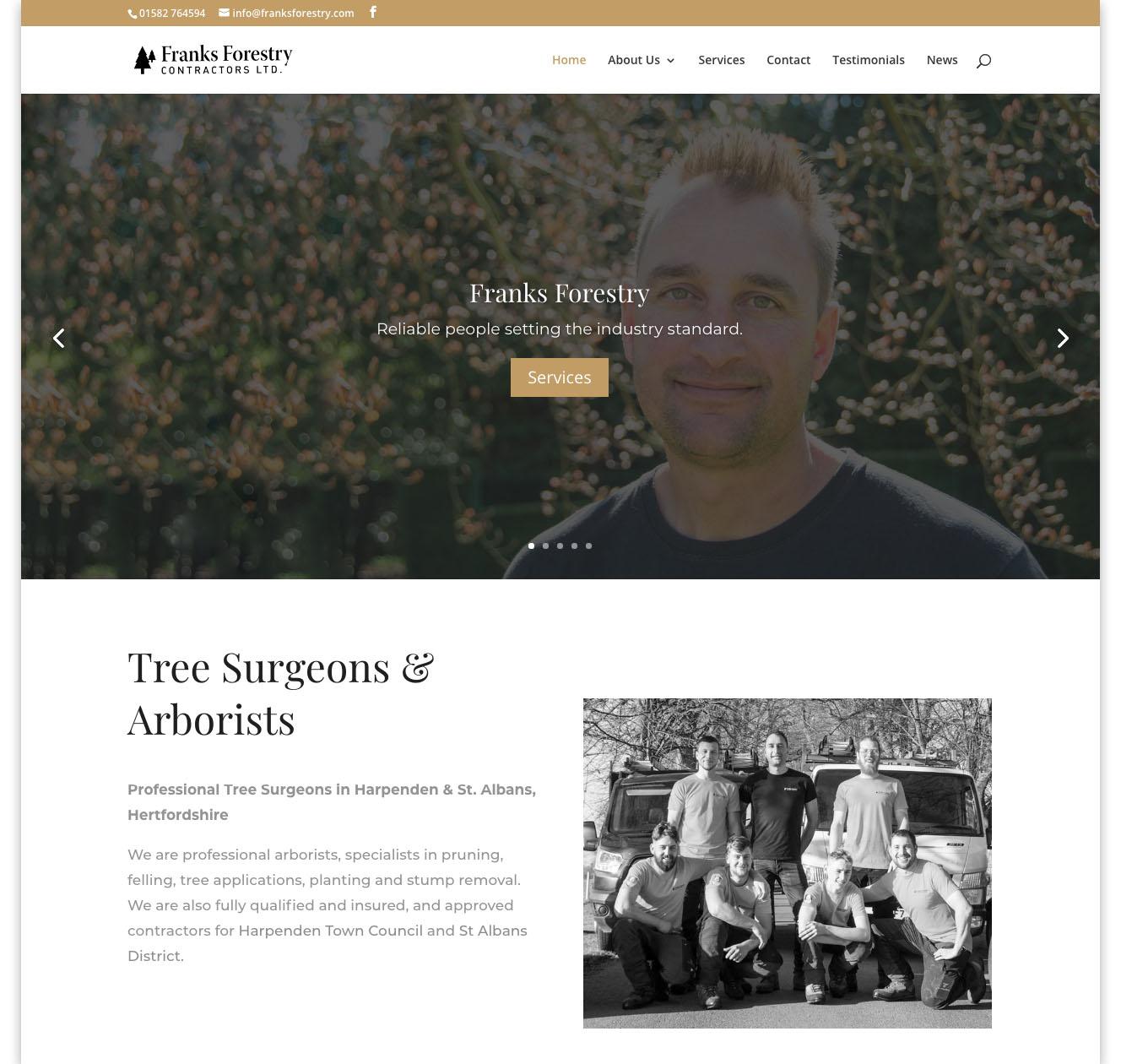 Web designers Belfast portfolio web site - franks forestry home page image 1