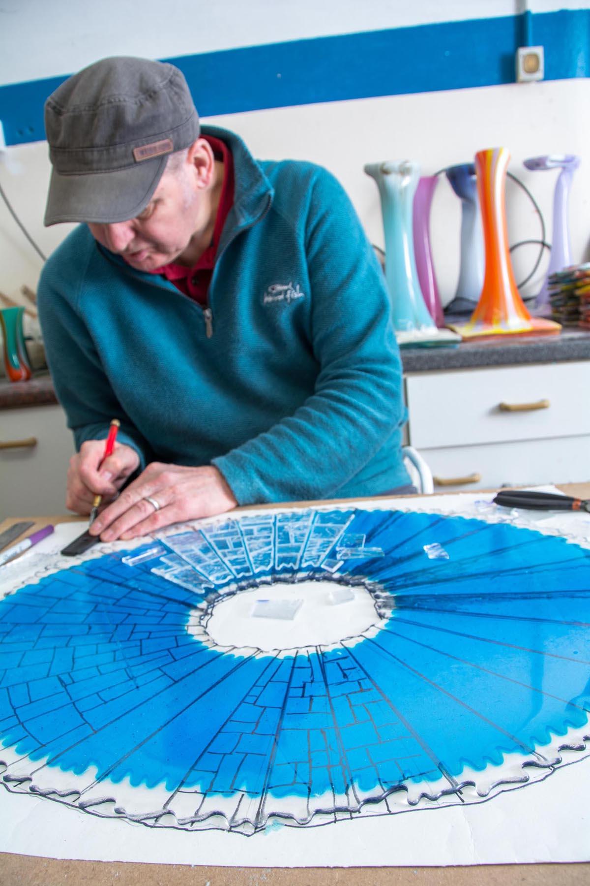 Website design portfolio project 11 - photograph of glass artist at work at Keith Sheppard Glass by veetoo website design and development, Belfast, Northern Ireland