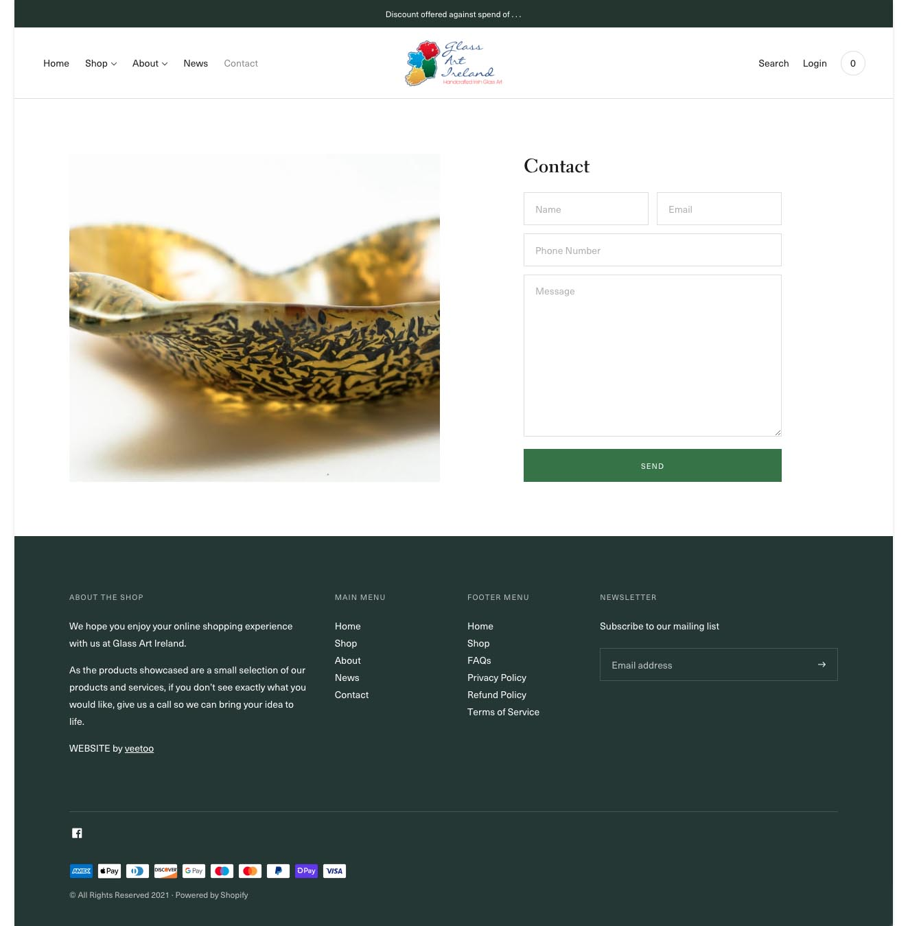 Website design portfolio project 11 - website contact page design layout for Keith Sheppard Glass designed by veetoo website design and development, Belfast, Northern Ireland