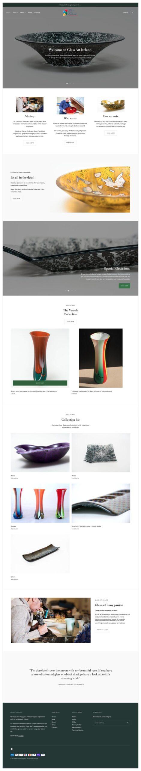 Website design portfolio project 11 - website home page for Keith Sheppard Glass designed by veetoo website design and development, Belfast, Northern Ireland