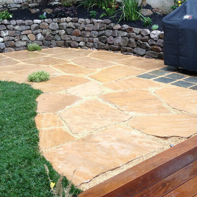 Arizona Flag Wood Deck and BBQ Napa Basalt Wall