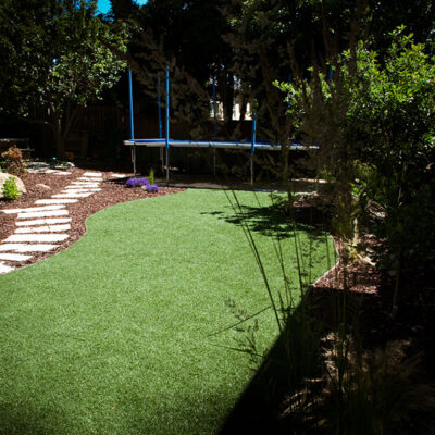 Astro Turf in kids garden no maintenance or water for the lawn