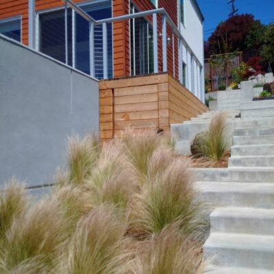 Grasses and enclosed deck for storage