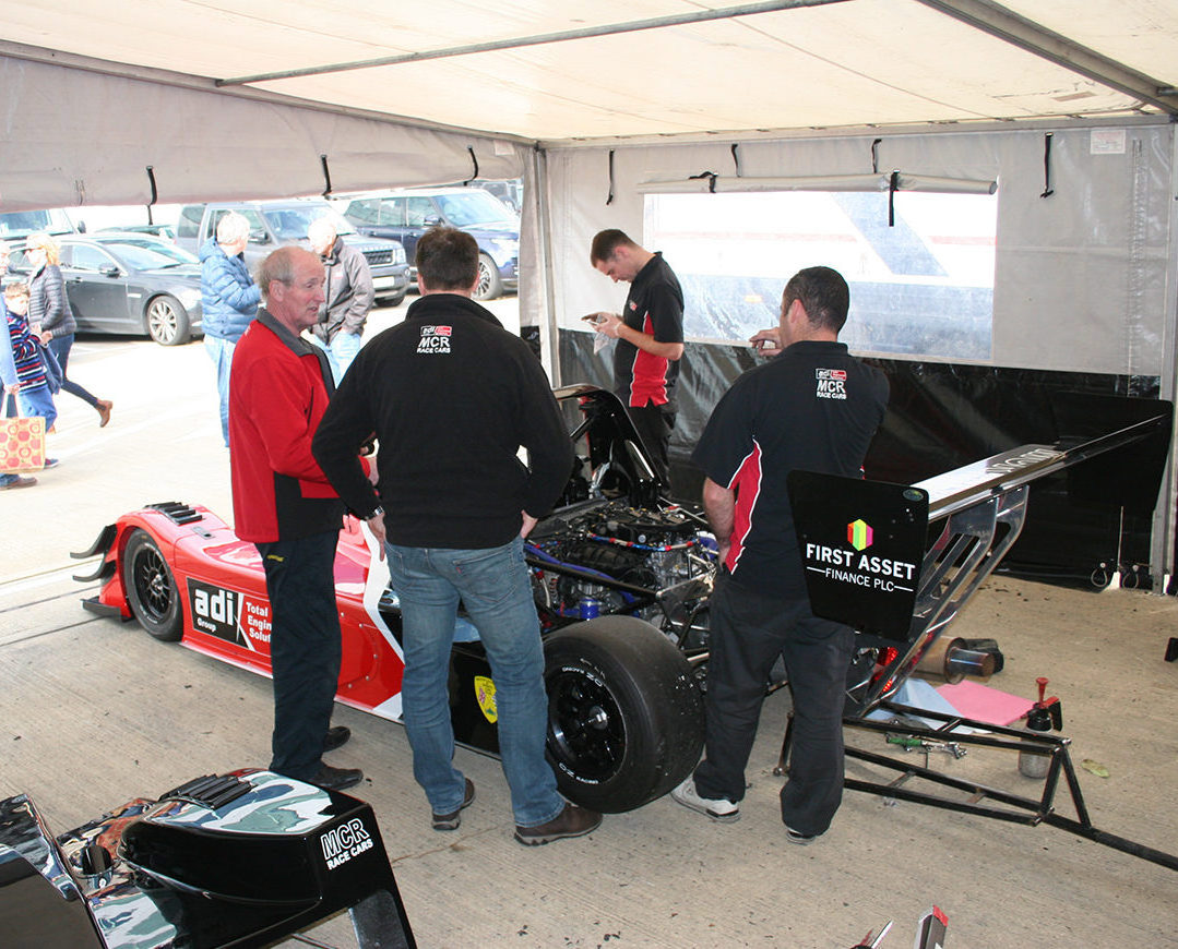 MCR Race Car team pit crew mechanics