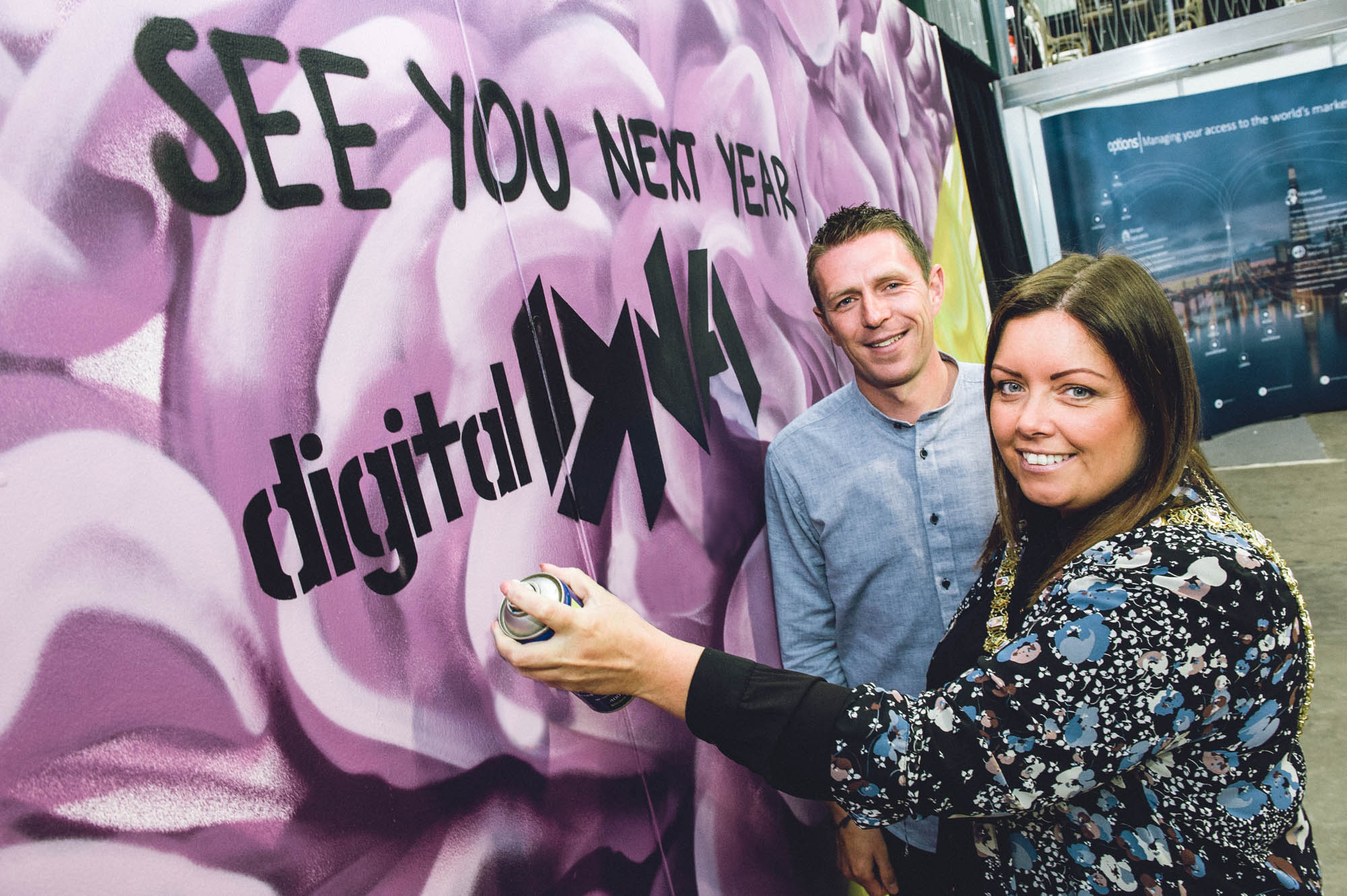 Lord Mayor of Belfast Councillor Deirdre Hargey and Gareth Quinn, founder of Digital DNA