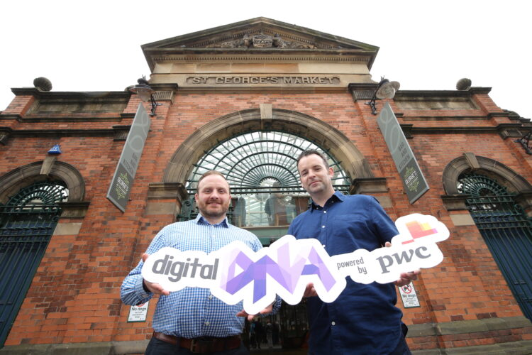Simon Bailie, Commercial Director at Digital DNA, and Seamus Cushley, Director of Blockchain, FinTech & Innovation at PwC, check out St. George's Market ahead of next week's two-day Digital DNA conference.