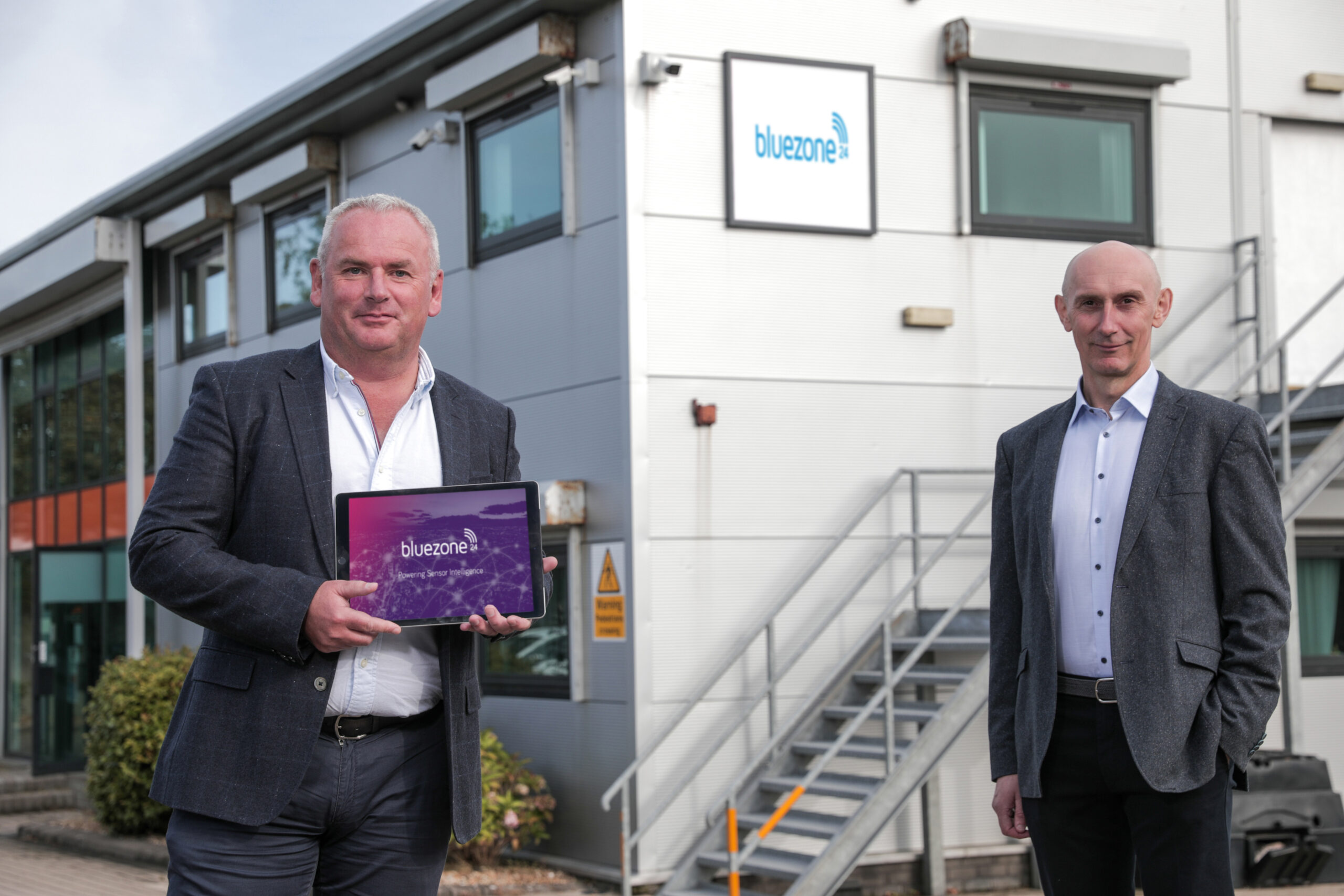 Photographed at the launch of Bluezone Technologies' 'no touch' Legionella management system are (L to R) Adrian Byrne, CEO & Pat McDonald, Technical Director at Bluezone Technologies' Newry-based headquarters