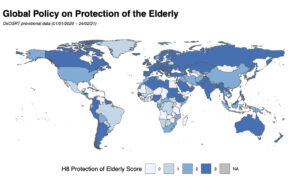 Choropleth map showing the strength of policies designed to protect elderly people by isolating them from potential exposure to COVID-19.