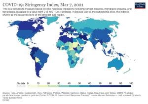 Stringency Index heat map (March 2021)