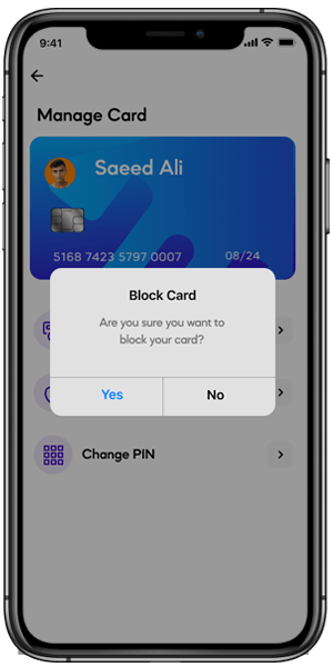 Instantly block or unblock cards at anytime