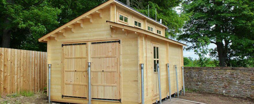 log cabin garage ground screw foundations