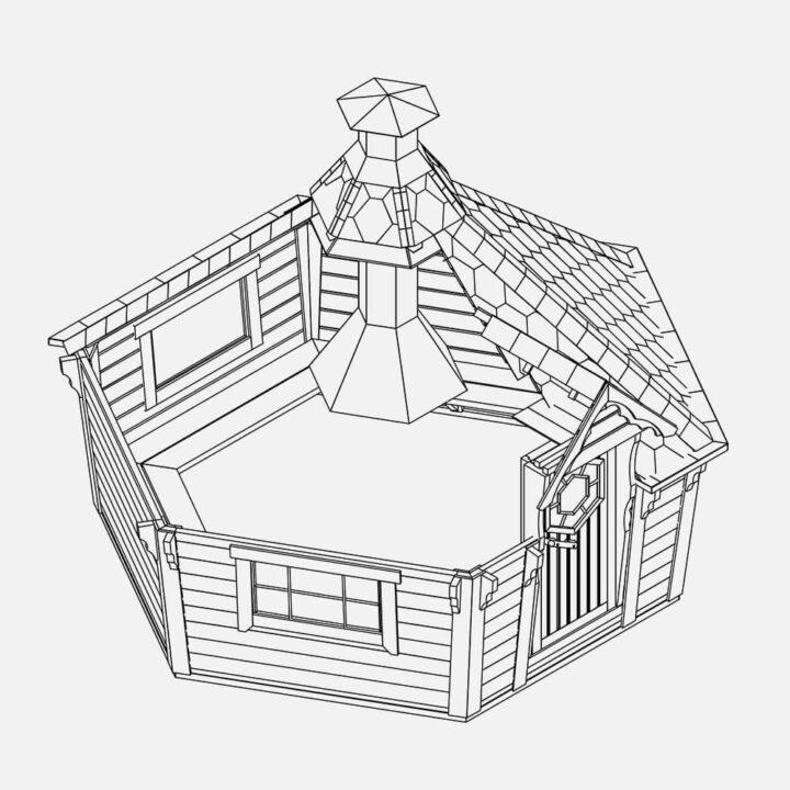 bbq grill cabin drawing