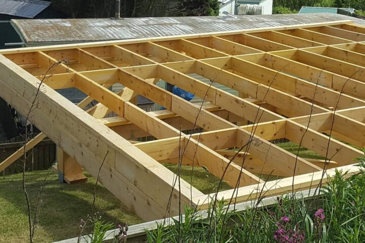 beach hut foundations and timber frame