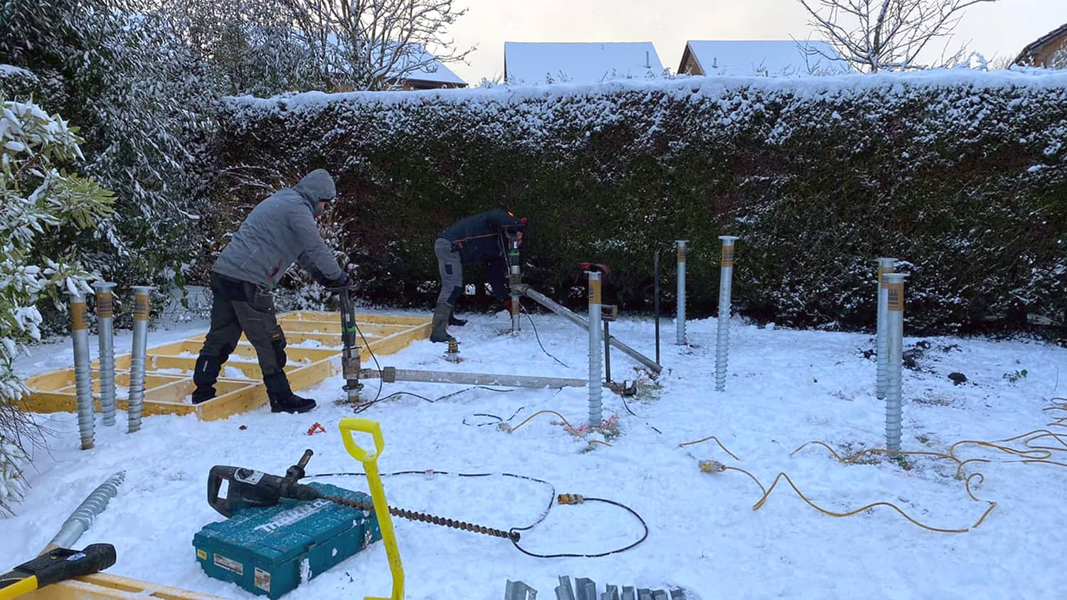 installing ground screws in snow