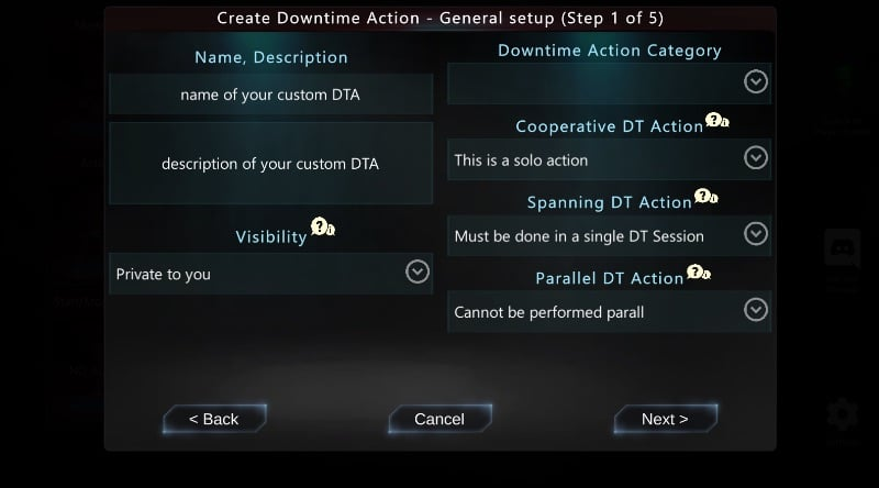 Create Downtime Action