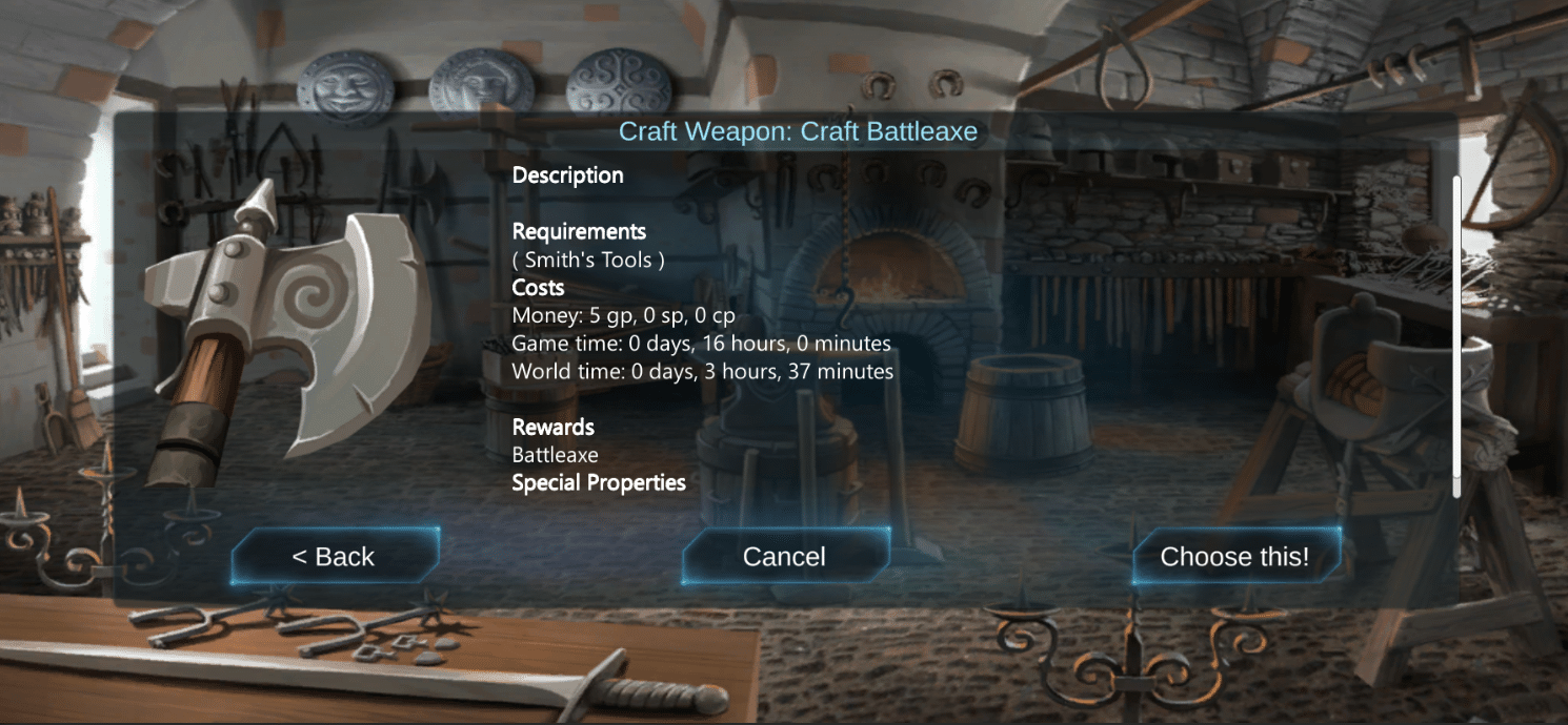 Downtime Action: Craft Battleaxe