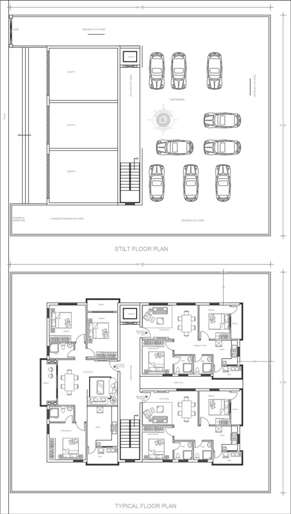 3-bedroom-&-2-bedroom-house-design-apartments-3-flats-per-floor-as-per-vastu-with-stilt-parking-&-shops