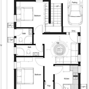 30X40-North-Facing-2-bedroom-house-design-850-Sft-custom-designed-house-plan-home-design-as-per-vastu-single-floor-with-parking-designed-by-indiahousedesign-houzone