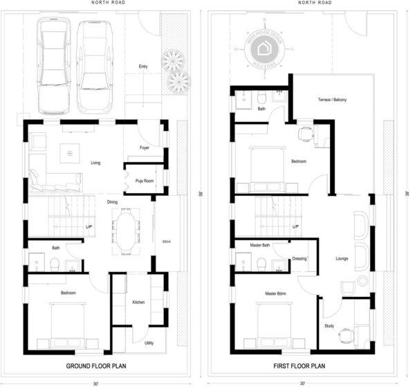 30X58-North-Facing-3-bedroom-duplex-house-design-1600-Sft-house-plan-vastu-indiahousedesign
