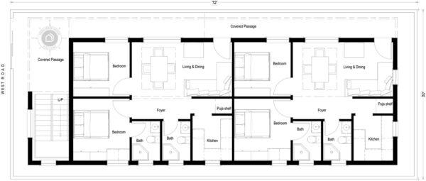 30x70-West-Facing-2bhk-2-bedroom-house-design-for-rental-portion-house-plans-as-per-vastu