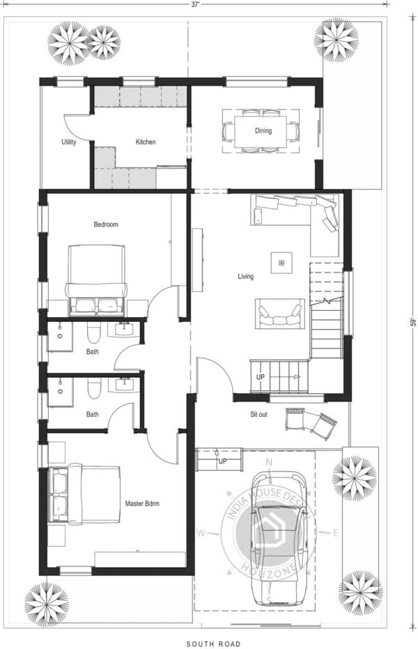 35X60-South-Facing-2-bedroom-bungalow-house-design-1400-Sft-custom-designed-house-plan-home-design-as-per-vastu-single-floor-with-parking-designed-by-indiahousedesign-houzone