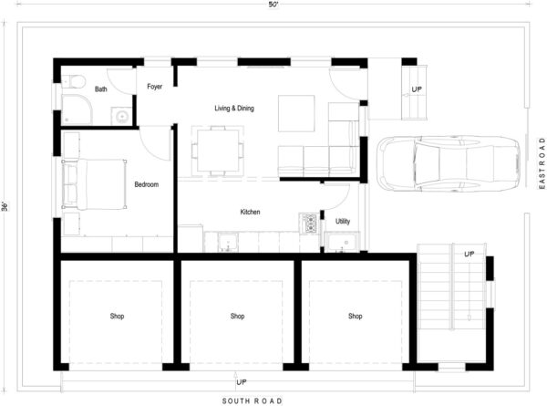 36x50-East-Facing-1bhk-1 bedroom-house-design-for-rental-unit-with-shops-house-plans-indiahousedesign