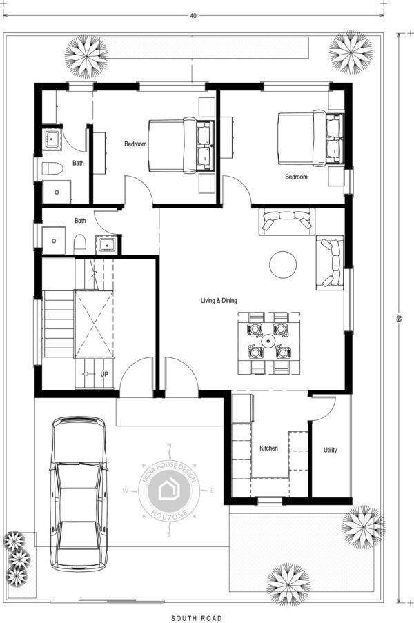 40x60-South-Facing-2bhk-2-bedroom-house-design-for-rental-portion-house-plans-as-per-vastu