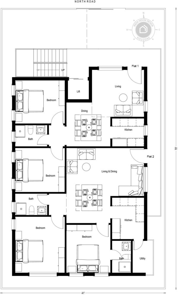 40x70-North-Facing-2bhk-flats-2-bedroom-house-design-for-rental-unit-house-plans-as-per-vastu-indiahousedesign