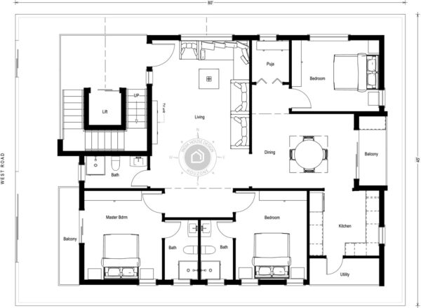 45x60-West-Facing-3bhk-3-bedroom-house-design-with-lift-for-rental-portion-house-plans-as-per-vastu-indiahousedesign