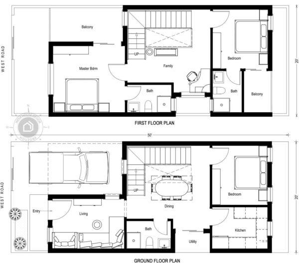 50X20-West Facing-3-bedroom-duplex-house-design-1400-Sft-house-plan-vastu-indiahousedesign