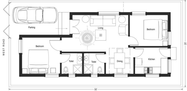 50X25-West-Facing-2-bedroom-house-design-800-Sft-house-plan-vastu-indiahousedesign-houzone