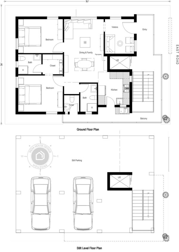 50X35-East-Facing-2-bedroom-house-design-on-stilt-1200-Sft-house-plan-vastu-indiahousedesign-houzone