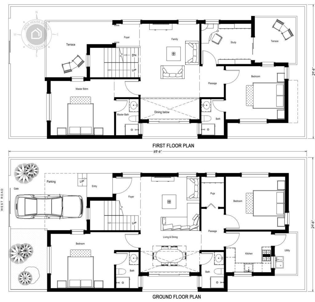 30x65-West-facing-4bhk-house-design-4-bedroom-house-plan-2600sft-duplex-house-design-as-per-vastu-order-online-indiahousedesign