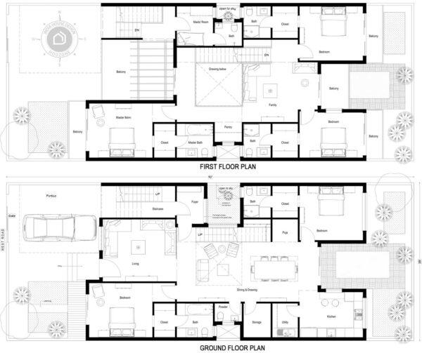 35x90-West-facing-5-bedroom-luxury-pool-house-design-5bhk-4500Sft-duplex-house-plan-as-per-vastu-order-online-indiahousedesign