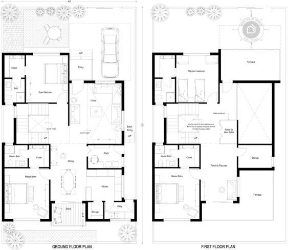40x70-North-facing-4-bedroom-house-design-4bhk-3000Sft-duplex-house-plan-as-per-vastu-order-online-indiahousedesign-houzone-custom-house-design