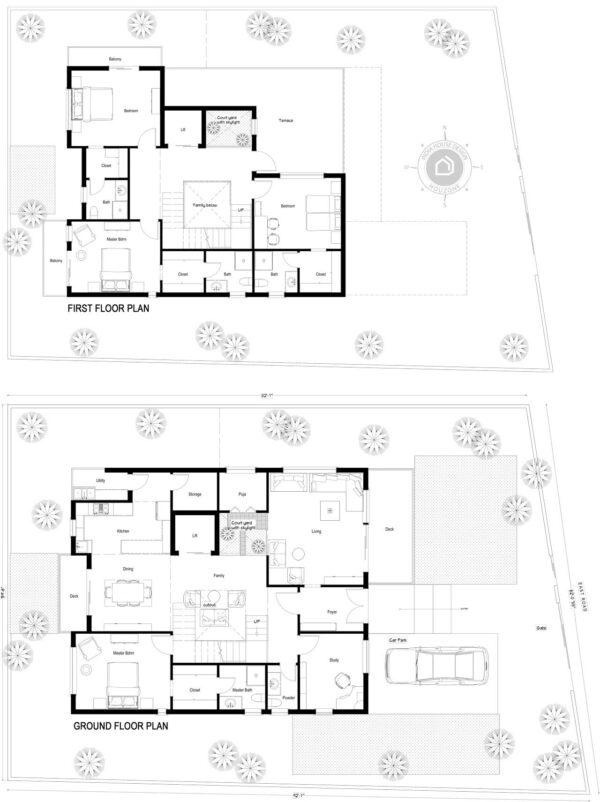 60x80-East-facing-4-bedroom-luxury-house-design-4bhk-3600Sft-duplex-house-plan-as-per-vastu-order-online-indiahousedesign