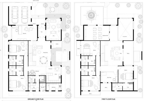 65x90-North-facing-5-bedroom-luxury-pool-house-design-5bhk-6000Sft-duplex-house-plan-as-per-vastu-order-online-indiahousedesign