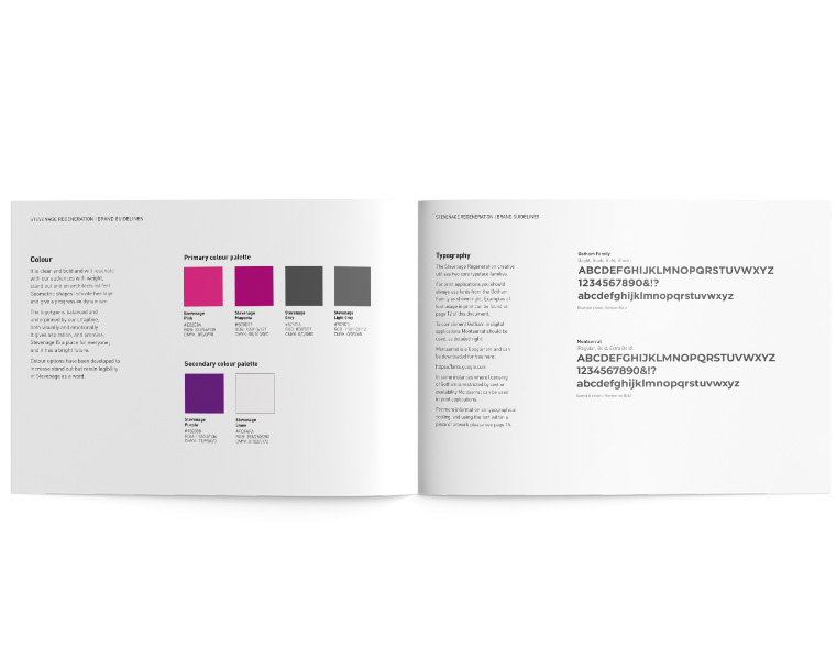 internal pages for SEB brand guide with details for colour palette and typeface usage