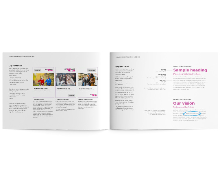 internal view of brand guidelines with logo rules and how to use type in body copy