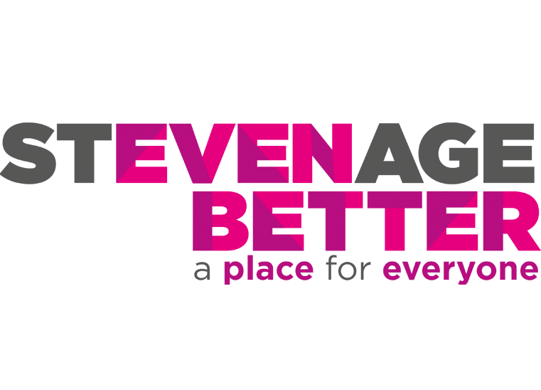 Stevenage Even Better logo and lockup with strapline: a place for everyone