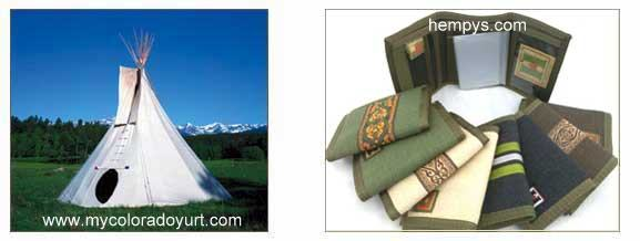 hemp canvas tipi and wallets