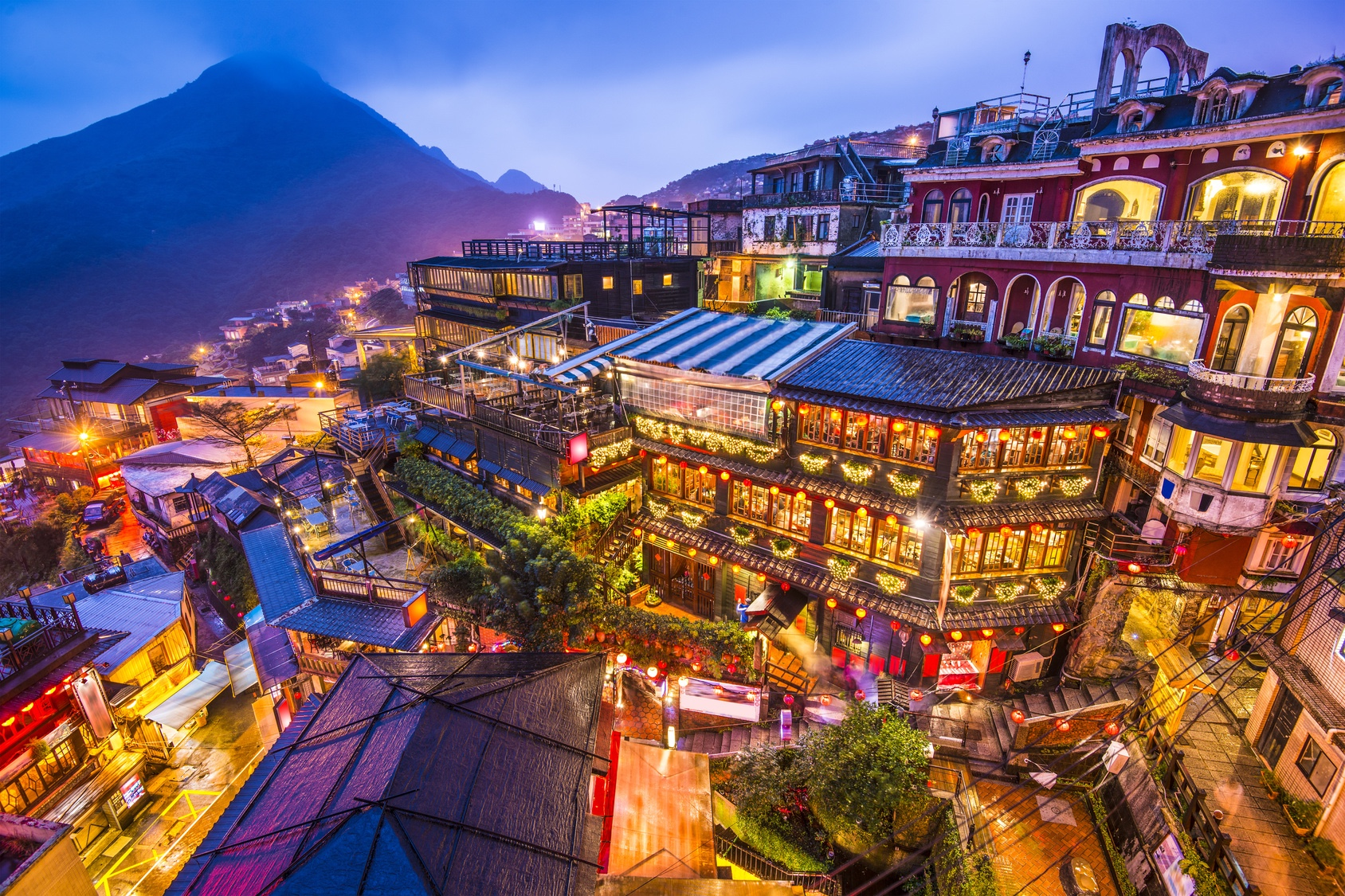 Hillside teahouses in Jiufen, Taiwan
