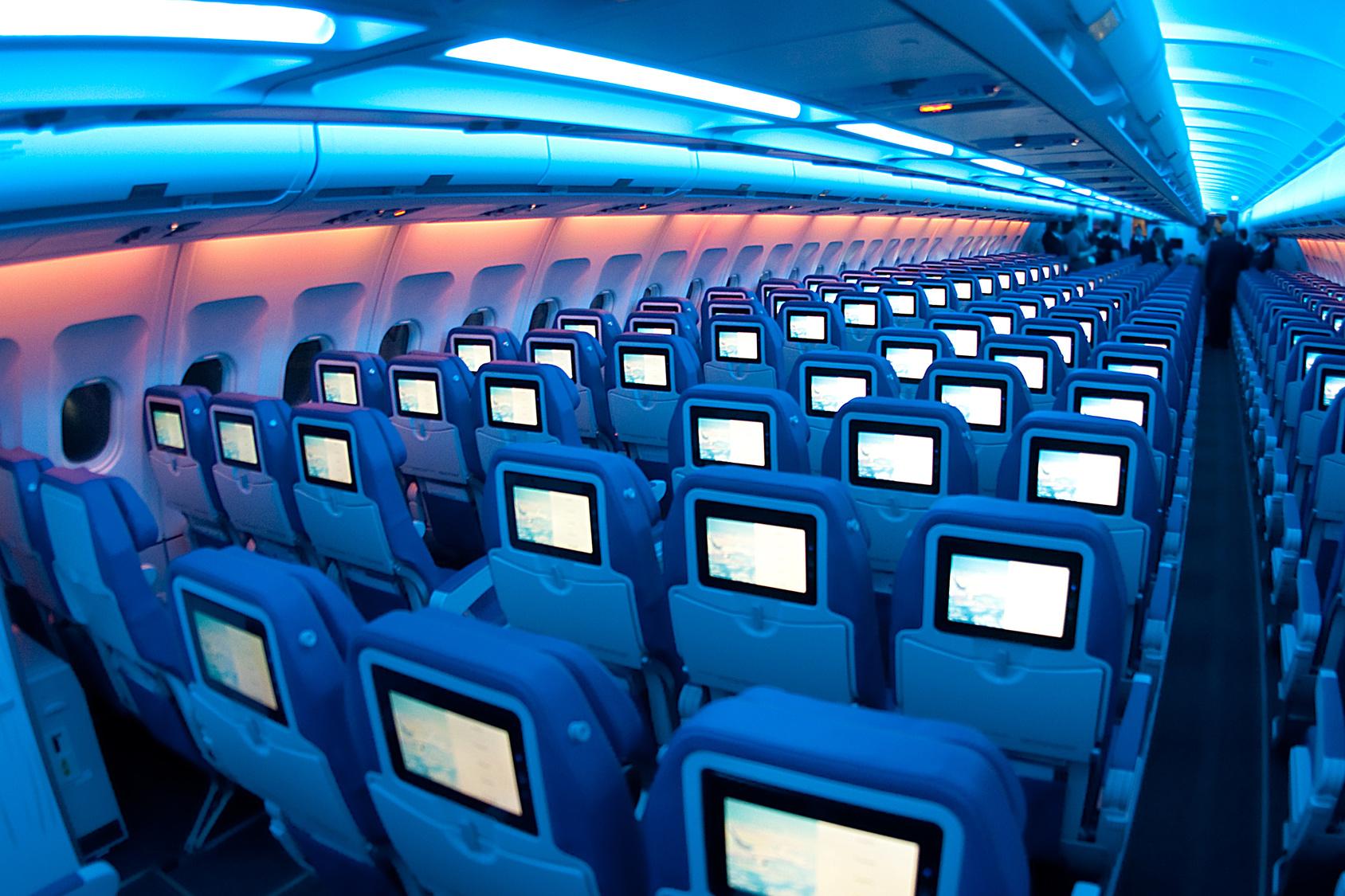 Interior of a passenger jet